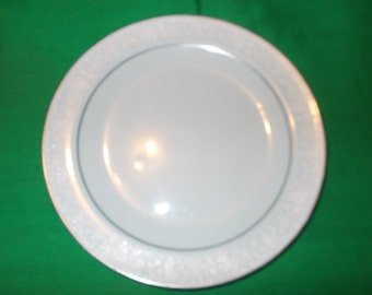 """One (1), Porcelain, 8 3/8"""" Salad Plate, from Noritake China, in the Fidelity 8003/W81 Pattern."""