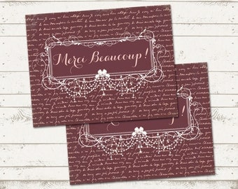 Instant Download Thank You cards - Merci Beaucoup - French, Shabby Chic, Vintage Inspired, Distressed - Printable Design