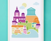 Athens Greece Art Print for Nursery or Children's Room Decor