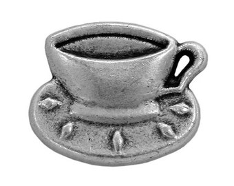 3 Coffee Cup 3/4 inch  ( 20 mm ) Metal Buttons Antique Silver Color
