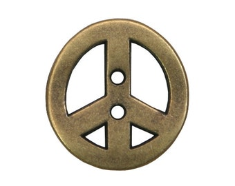 2 Peace 7/8 inch ( 23 mm ) Two Hole Metal Buttons Brass Color