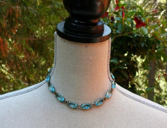20-30's Bohemian Boho Bridal Czech Aqua Turquoise Necklace