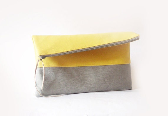 Clutch purse, Foldover, Butter Yellow and Grey Vegan Leather , Color Block, Pastel