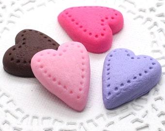 4pcs Heart Cabochon 25mm Kawaii Fake miniature Sweet Cabochon Jewelry Charms ca114
