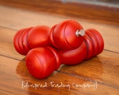 CHOOSE YOUR COLOR  - Painted,Distressed, Wooden Pepper Mill and Salt Shaker - Shabby Chic Kitchen Accessory-Red