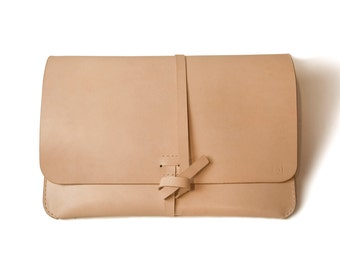 "Leather MacBook Air/Macbook Pro 13"" Case/Portfolio - Made from veg tan leather, 100% hand stitched."