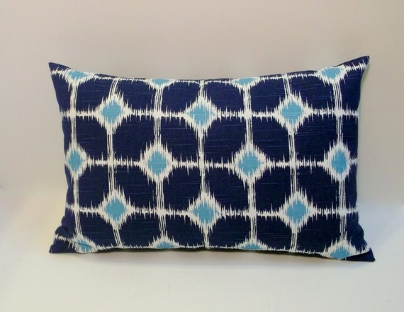 Navy And Teal Throw Pillows: Navy And Teal Decorative Lumbar Pillow Cover 12x18 By ShadoBox