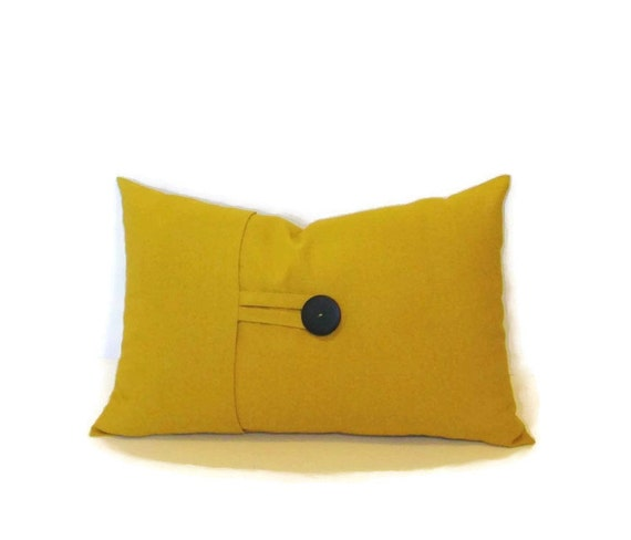 Yellow Linen Throw Pillow : Mustard yellow linen blend button lumbar pillow cover by ShadoBox