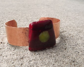 Copper Fused Glass Bracelet cuff, Trapezoid Bracelet, Adjustable Cuff, Adjustable Bracelet, Glass Bracelet, Red and Yellow Cuff, Art Cuff