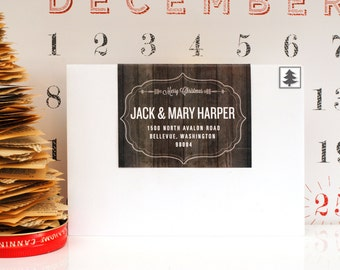 Custom Christmas Mailing Labels- Over Top Panel- Holiday, Panels, Wood, Paneling, Black and White, Cute, Modern, Personalized, Seasonal