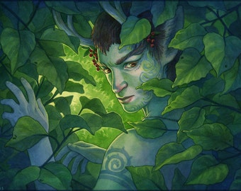 Green Man Faun in Forest Illustration 12x16 - SALE