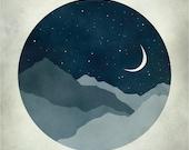 Starry Night Nursery Decor, Art for Kids, Nursery Wall Art, Moon and Stars, Mid Century Modern Art, Whimsical