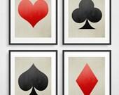 Modern Wall Art, Minimalist Posters, Geometric Art, Scandinavian Print, Minimalist Art, Wall Art Set of 4, Playing Cards