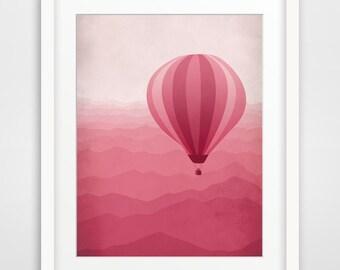 Pink Nursery Decor, Baby Girl Nursery Wall Art, Hot Air Balloon, Art for Girls Room, Girls Room Decor, Baby Girl Nursery Art, Pink Wall Art