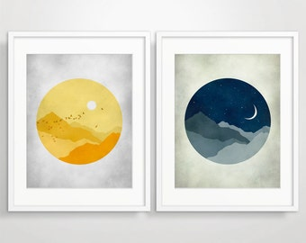 Wall Art Prints, Mid Century Modern Art, Art Print Set, Sun And Moon, Modern Art, Wall Art Set, Set Of 2 Prints, Mid Century Wall Art