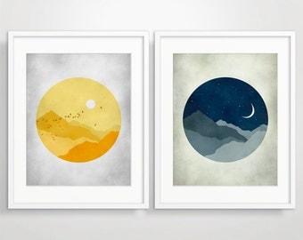 Nursery Wall Art, Sun And Moon, Playroom Decor, Nursery Art, Kids Room Decor, Baby Nursery Decor Set of 2 Prints, Baby Shower Idea