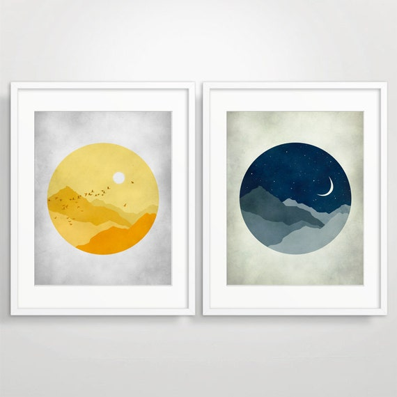 Set of 2 Nursery Art Prints, Modern Art, Children Wall Art, Starry Night, Sunshine
