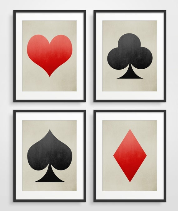 Geometric Art Set of 4 Prints, Playing cards, Ace of Spades, Heart, Industrial Decor Red and Black
