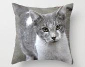 Grey cat photo throw  pillow cover