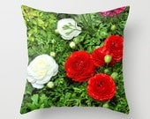 Red and white dahlias on green background photo throw pillow cover