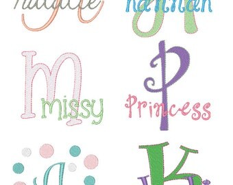 Girls Embroidery Font Set - Instant Download