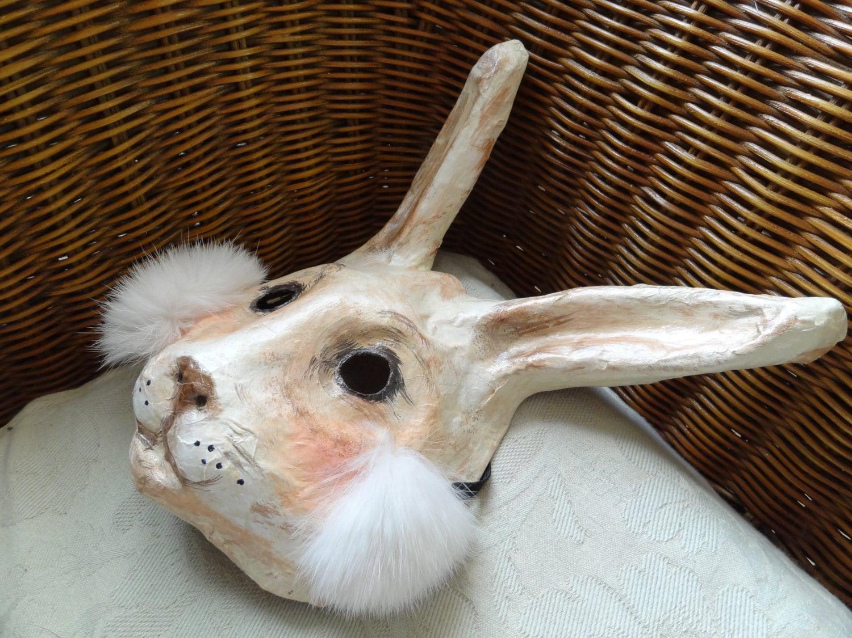 Paper animal masks paper mache rabbit mask hare by miesmesaberni - Masque papier mache ...