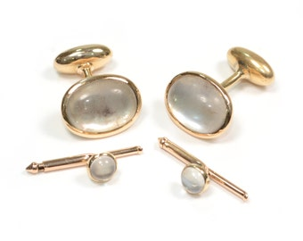 Antique 1920s 14k Rose Gold & Moonstone Tuxedo Set of Cufflinks and Shirt Buttons