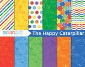 Digital Paper - The Happy Caterpillar / Watercolor - Instant Download