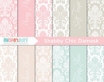 Digital Paper - Shabby Chic Damask - Instant Download