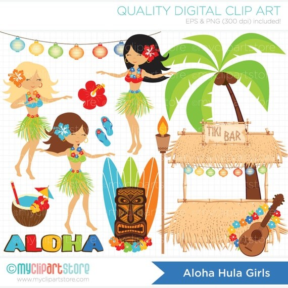 Clipart - Hula Girls Clipart - Luau / Tiki / Island - Digital Clip Art (Instant Download)