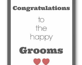 Happy Grooms wedding card, Wedding Cards, Same Sex Wedding Cards, 2 Grooms Wedding Card, LGBTQ Cards, Gay Wedding Cards, Grooms Wedding Card