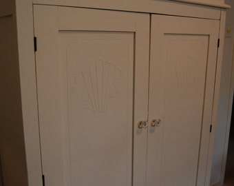 Vintage 1930s Antique White Armoire with Glass Handles