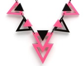 Neon Pink & Black Zag Necklace