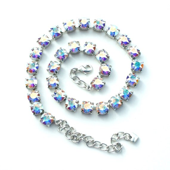 Swarovski Crystal 8.5mm Necklace  -  Designer Inspired -  Super Radiant   -   Aurora Borealis - FREE SHIPPING