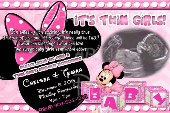 twin babies minnie mouse baby shower invitation downloaded and