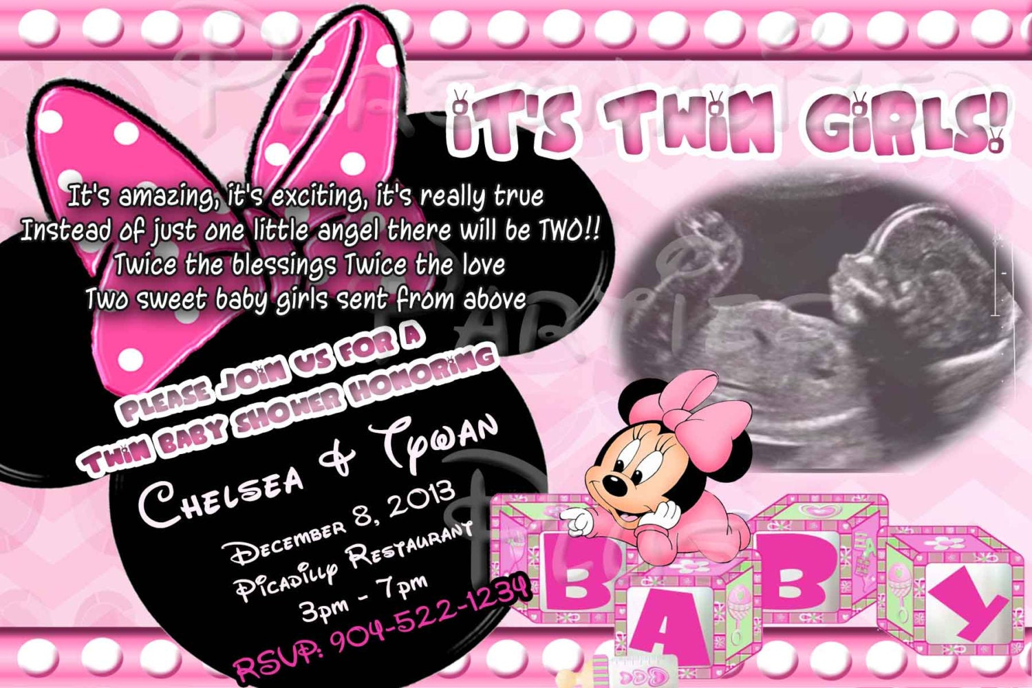 twin babies minnie mouse baby shower invitation by partiesplus