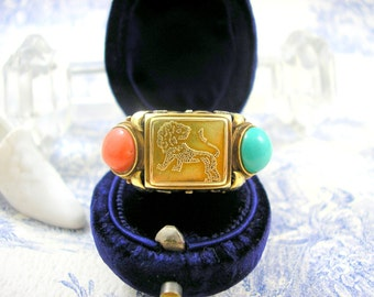 Jugendstil Gold Ring with Lion Wiener Werkstatte Style 1920s