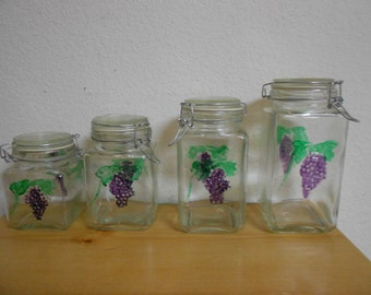 Vintage Four Piece Set of Hand Painted Glass Canister's / Mint Condition