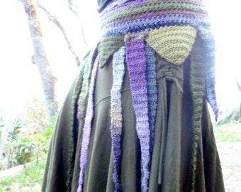Moss Fairy Belt / Skirtbelt crocheted Wool and Cotton Adjustable Size Elven Festival Wear
