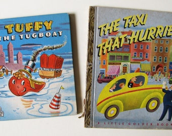 2 Classic Vintage, Mid Century, Picture Books: The Taxi That Hurried, Tuffy the Tugboat, 1946 and 1947