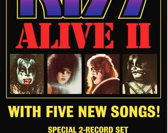 KISS ALIVE II Promo Ad Reproduction Stand-Up Display # 1 - Collectibles Collection Collector Memorabilia Gift Rock Band Music Retro Frame