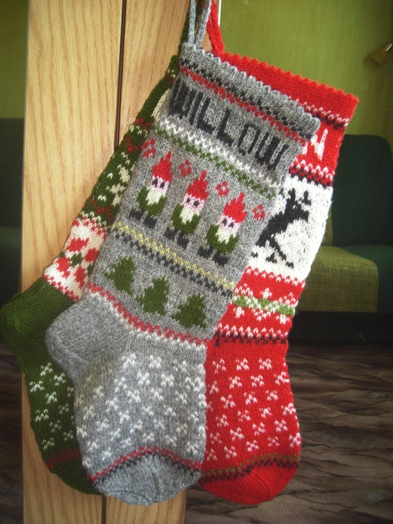 Knitting Patterns For Xmas Stockings : Hand knitted Christmas Stocking Deer Stocking Red White Black