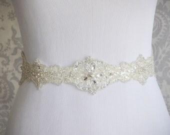 Crystal Sash, Rhinestone bridal sash with beads, Crystal Bridal Belt on Satin Sash, High quality Wedding Sash- 104S