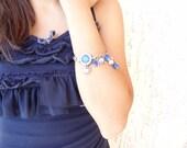 Blue & White Gem Stone Silver Plated Bracelet-Blue Pendant Bracelet