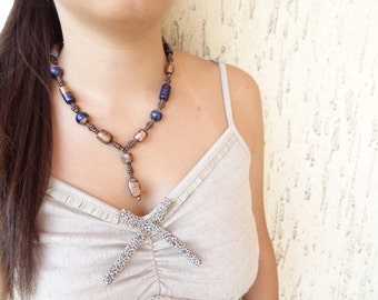 Brown ,Navy Blue Glass Bead Necklace -OOAK feminine handmade christmas