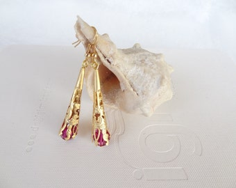 Rhinestone, Fuchsia Swarovski Crystal Earrings, Wedding Earring,Gold  earrings