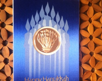 Franklin Mint 1975 Prayer at Hanukkah Holiday Collectible Bronze Coin Card Present for the Vintage Lover in Your Life
