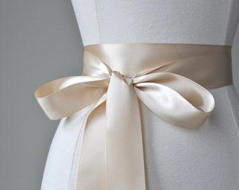 CHAMPAGNE Bridal Belt - Romantic Luxe Satin Ribbon Sash - Wedding Sashes,bridal sash,wedding sash,bridesmaid sash, bridal belt, bridal belt