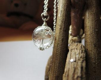 Dandelion necklace-  Make A Wish Glass  pendant - Dandelion Seed Transparent Round real  Flower