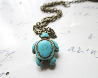 Turtle Necklace -turtle ring/ Turtle keychain/ blue ring - simple, Animal, Jewelry Rings, Turquoise Magnesite Jewelry -Adjustable Ring